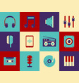 retro music icon set vector image