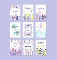 romantic greeting cards set trendy cards for vector image vector image