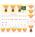 schoolgirl parts of body template for animation vector image