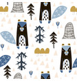 seamless childish pattern with cute beavers in the vector image vector image