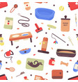 seamless pattern with pet care products or goods vector image