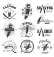 Second set of vintage barber shop emblems vector image vector image