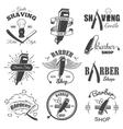 second set vintage barber shop emblems vector image vector image