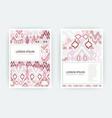 set card ethnic bohemian arabesque pattern zigzag vector image