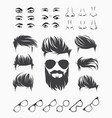 set of elements of male human face vector image vector image