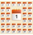 Set of icons for the calendar in December vector image vector image