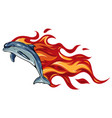 set two fiery dolphins vector image