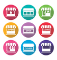 Shop or store supermarket flat design icons set vector image