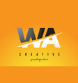 wa w a letter modern logo design with yellow vector image vector image
