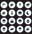 weather icons set with humidity storm heavy rain vector image vector image
