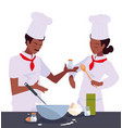 woman and man chef cooking vector image vector image