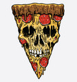 zombie skull pizza slice vector image vector image