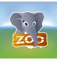 Grey elephant holding zoo plate vector image