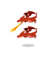angry red dragon with fire breath cartoon vector image vector image