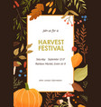 autumn harvest festival invitation poster flat vector image