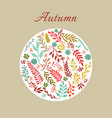 autumn round floral pattern vector image vector image