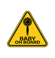 baby on board sign with child rattle silhouette in vector image vector image