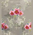 baroque texture pattern with spring flowers vector image vector image