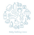 bathing and baby care line icons in form vector image