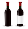bottle of red wine with blank label and without vector image vector image