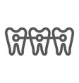 braces line icon dentist and dental teeth sign vector image vector image