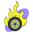 burning tire cartoon image vector image