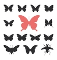 butterflies cicada set isolated silhouette on vector image vector image