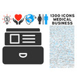 card index icon with 1300 medical business icons vector image vector image