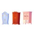 cartoon cupboards baroque shabchic or classic vector image vector image