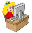 cartoon girl working with computer vector image