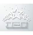 Cinema banner with white paper stars and film tape vector image vector image