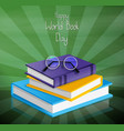 colorful book for world book day on green vector image vector image