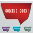coming soon red 3d realistic paper speech bubble vector image