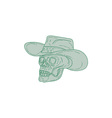 Cowboy Skull Drawing vector image