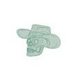 cowboy skull drawing vector image vector image