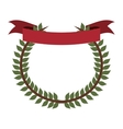 crown formed with olive branch and label flag vector image