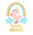cute pink unicorn with rainbow and clouds vector image vector image