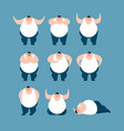 fat set poses and motion stout guy happy and yoga vector image vector image