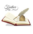 feather pen and inkwell on open book vector image