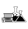 flasks books laboratory science vector image