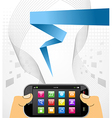Hands holding a smart phone over white vector image vector image