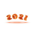 happy new year 2021 text design salmon style vector image