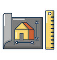 house plan icon cartoon style vector image vector image