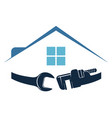 house with rowrench repair symbol vector image vector image