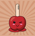 kawaii candy apple with stick image vector image vector image
