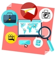 Laptop with map pointers on world vector image vector image