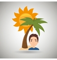 man sun palm beach vector image vector image