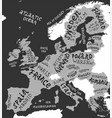 map europe with hand drawn lettering vector image vector image
