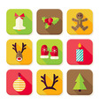 New Year Merry Christmas Square App Icons Set vector image vector image