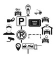 parking set icons simple style vector image